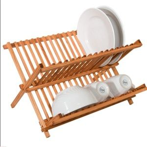 RUSTIC COLLECTION PINE FOLDING DISH RACK